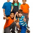 5 diversity looking happy kids - Stock Photo