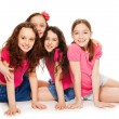 Four kids girls in pink — Stock Photo