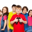 Boy with binoculars in a group — Stock Photo #24687437
