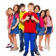 Boy with binoculars with other kids — Stock Photo