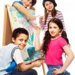 Four very creative kids — Stock Photo