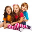 Stock Photo: Group of three 7 years old kids