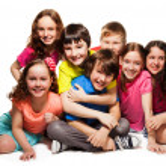 Group of happy hugging kids — Stock Photo #24688181