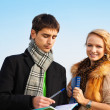 Student couple - Stock Photo