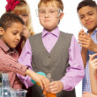 Smart boy and friends — Stock Photo