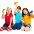 Kids and paper airplane — Stock Photo #24689109