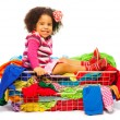 Black girl in fashion basket — Stock Photo