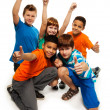 Five exited kids - Stock Photo
