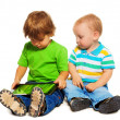 Two kids playing tablet — Stock Photo #24689409
