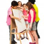 Five kids painting — Stock Photo