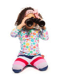 Portrait of super cute black girl with binoculars — Stock Photo