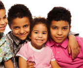 Close-up portrait of black family — Stock Photo