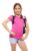 Happy schoolgirl with backpack — Stock Photo