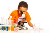 Black kid in lab — Stock Photo