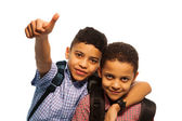 Two black boys after school — Stock Photo