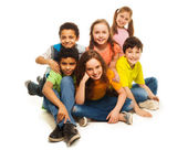 Group of happy diversity looking kids — Stock Photo