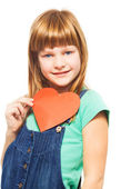 Happy girl with heart shape — Stock Photo