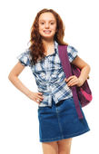 Girl with smile and wearing backpack — Stock Photo