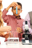 Examining test tube — Stockfoto