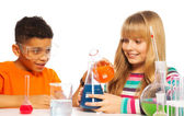 Happy teen kids in the lab — Stock Photo