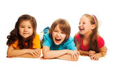 Kids laying in line — Stock Photo