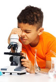 Boy and biology class — Stock Photo