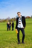 Confident student in park — Stock Photo