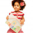 Nice black little girl with drawing — Stock Photo