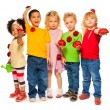 Group of kids spring — Stock Photo