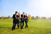 Students taking a walking in park — Stock Photo