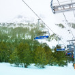 Ski lift in winter resort — Stock Photo