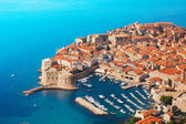 Boats at Dubrovnik old town port — Stock Photo