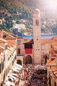 Dubrovnik, Plaza Luza Campanario de la ciudad — Stock Photo