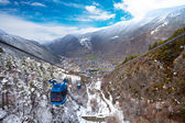 Encamp town in Andorra and cable car — Stock Photo