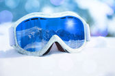 Ski mask close-up and mountain reflection — Stock Photo