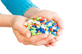 Hand full of pills — Stock Photo