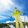 Happy skier on top of the mountain — Foto Stock