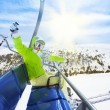Happy, exited skier — Stock Photo