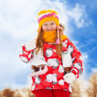 Portrait of girl with ice skates — Stock Photo #28471233