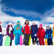 Group of kids and winter activities — Stock Photo