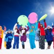 Many kids and snow activities — Stock Photo