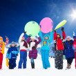 Many kids and snow activities — Stock Photo #28474883