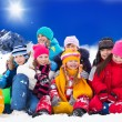 图库照片: Large group of kids on winter day
