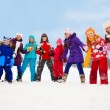 Large group of kids together on snow day — Stock Photo