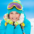 Stock Photo: Mountain skier girl