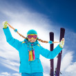 Blond, cute girl on ski winter vacation — Stock Photo
