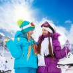 Girls with ice-skates — Stock Photo
