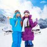 アイス スケート行くお友達 — ストック写真