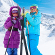 Happy cross country ski girls — Stock Photo