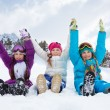 Three girls on snow day — Stock Photo